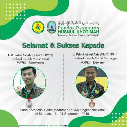 Selamat Santri Husnul Raih Medali Perak & Perunggu KSM