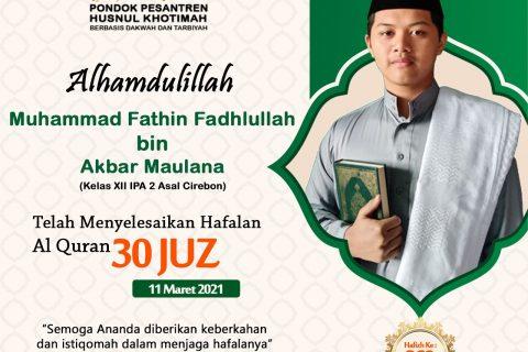 Muhammad Fathin Fadhlullah bin Akbar Maulana