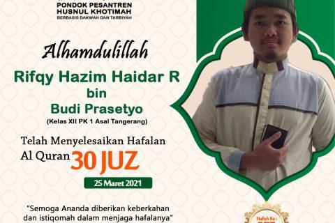 Rifqy Hazim Haidar R bin Budi Prasetyo